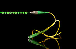Fiber optics path cord and light digital signal concept Royalty Free Stock Photos