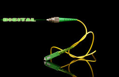 Fiber optics technology cable with digital output signal Stock Image