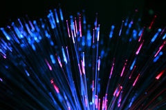 Fiber optics toy. Optical cables in a decorative toy, black background Royalty Free Stock Photography