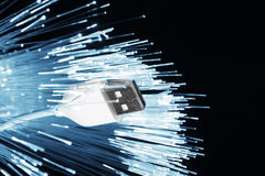 Fiber optics and usb cable Stock Images