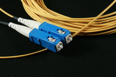 Fiber patch cord Stock Photos
