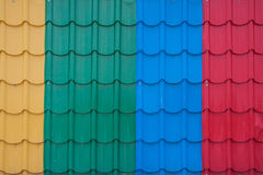 Fiber plastic roof tile. Colorful material of fiber plastic roof tile for home building Royalty Free Stock Photo