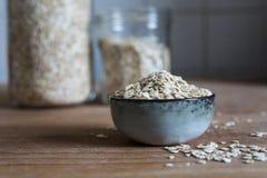 Oat flakes ingredient for asubstantial breakfast stock image