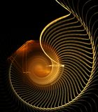 Fiber Spiral Abstract. Golden brown, fiber spiral design - fractal abstract background Royalty Free Stock Photo