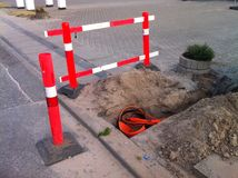 Fiber to the home excavation. Fiber to the home FTTH excavation Royalty Free Stock Photography
