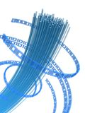 Fiber wire. 3d rendered illustration of many fiber optic cables and digital numbers Royalty Free Stock Images