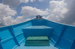 Fiberglass blue boat Stock Image