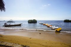 Fiberglass kayaks for tourists, Lembongan, Indonesia Royalty Free Stock Image