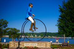 Giant Statue of Cyclist in Port Byron, Illinois royalty free stock photography