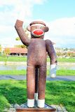 Fiberglass statue of a monkey. Was unveiled crocheted at Cluj Napoca, romania, on the banks of Somes, as a gift from Rockford -twin town, United States stock photography