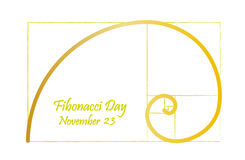 Fibonacci day, november 23, golden spiral Stock Photo