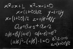 Fibonacci. Explaining Golden Ratio with mathematical formulas Stock Photography