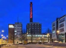 Fibonacci följd 1-55 på lampglaset av Turku Energia, Finland Arkivbilder