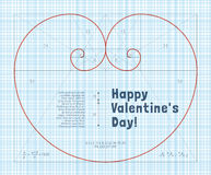 Fibonacci Heart. Heart of two Fibonacci Spiral on Graph Paper. Conceptual Valentines Card for Mathematicians Royalty Free Stock Photos
