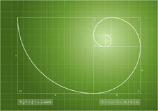 Fibonacci ordnar - guld- röra sig i spiral Arkivbild