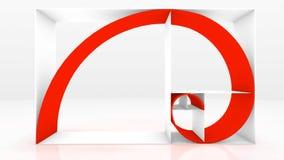 Fibonacci sequence 3D. Three dimensional expression of the Fibonacci chain Stock Photo