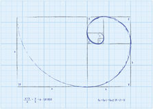 Fibonacci Sequence - Golden Spiral Sketch. The Fibonacci Sequence (also known as the Golden Spiral) with basic formulas for each. Illustrated in a sketch style Stock Photo