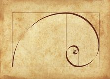 Calligraphy of Sacred Geometry. Fibonacci Spiral on an Ancient Script Royalty Free Stock Photography