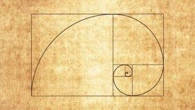 Fibonacci Spiral. Animation of the Fibonacci Spiral on Papyrus