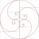 Fibonacci spiral. Golden ratio. Colorful vector illustration of Fibonacci spiral. Golden ratio stock illustration