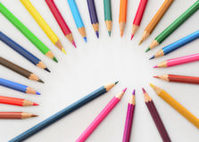Fibonacci spiral with pencils Royalty Free Stock Photography