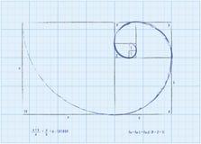 Fibonacci ordnar - guld- röra sig i spiral skissar Arkivfoto
