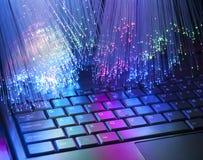 Fibra óptica con el teclado Foto de archivo libre de regalías