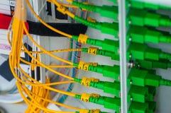 Fibra óptica y conector Imagen de archivo libre de regalías