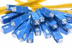 A fibra cabografa o close up dos conectores do sc imagem de stock royalty free