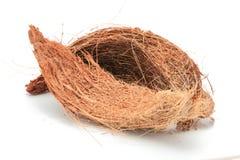 Fibra di cocco della noce di cocco isolata Fotografia Stock Libera da Diritti