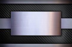 Fibra do carbono com fundo de aço inoxidável da textura do metal Foto de Stock Royalty Free