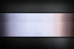 Fibra do carbono com fundo de aço inoxidável da textura do metal Fotos de Stock Royalty Free