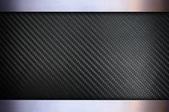 Fibra do carbono com fundo de aço inoxidável da textura do metal Foto de Stock