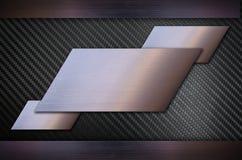 Fibra do carbono com fundo de aço inoxidável da textura do metal Fotos de Stock