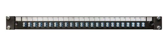 Fibra - painel de remendo ótico da rede com conectores do LC foto de stock royalty free
