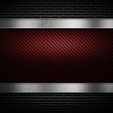 A fibra vermelha do carbono com metal perfurado cinzento e o polimento metal o pla Fotos de Stock Royalty Free