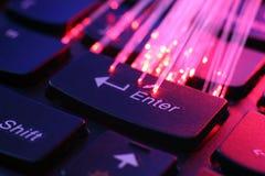 Fibras ópticas en el teclado Foto de archivo libre de regalías
