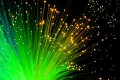 Fibras ópticas verdes Fotografía de archivo libre de regalías