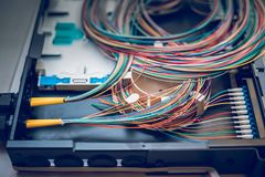 Fibre optic cables on patch distribution panel. Fibre optic cables on top of patch distribution panel shelf for enterprise networking royalty free stock photo