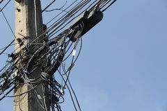 Fibre optic internet on the electric pole stock photos