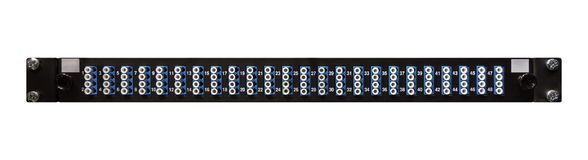 Fibre Optic Network Patch Panel With 48 High Density LC Connectors. Fibre optic networking patch panel with high density ports from a front view for use as a royalty free stock images