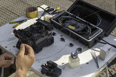 Fibre optic splicing equipment on the street stock images