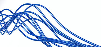 Fibre-optical blue cables Royalty Free Stock Images