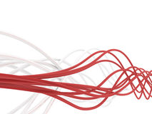 Fibre-optical cables. Fibre-optical red and metal silvered cables on a white background Stock Image