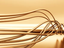 Fibre-optical metal cables. On a reflective background Stock Image