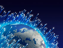 Fibre optics around planet. Optical fibres speeding around planet Earth globe, dark space background Stock Images