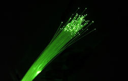 Fibre optics green. Green fibre optic cables stock image