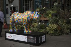 A fibreglass Rhino sculpture painted by Patrick Hughes at Covent Garden market, one of 21 individual models by various artists on royalty free stock photography