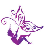 Fibromyalgia awareness. Purple silhouette of a falling woman with purple butterfly, symbol of fibromyalgia, chronic pain and chronic fatigue syndrome, broken Royalty Free Stock Photos