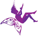 Fibromyalgia awareness. Purple silhouette of a falling woman with purple butterfly wings, symbol of fibromyalgia, chronic pain and chronic fatigue syndrome Royalty Free Stock Photo